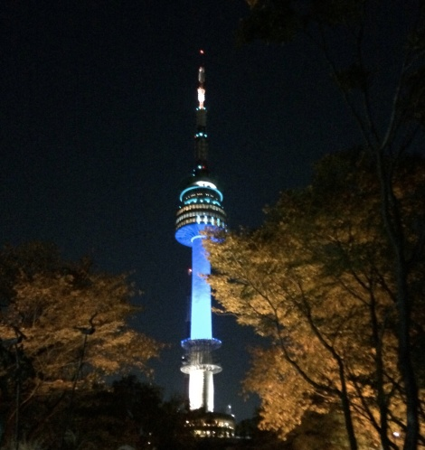The Seoul Tower (here shown lit at night) is the highest point in Seoul.