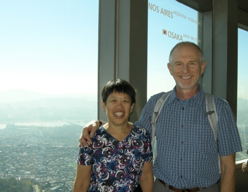 My husband and I enjoyed the view of the city from Seoul Tower.