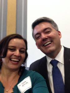 Dena Smith, the Executive Director of the STEPPE program at GSA, takes a selfie with Senator Cory Gardner (R-CO) during GeoCVD.