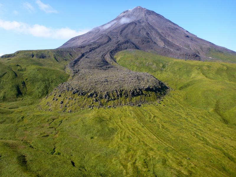 The Kanaga Volcano, on the Aleutian Islands in Alaska, captured during Western Aleutian field work in September 2015. Credit: Michelle Coombs and the Alaska Volcano Observatory/U.S. Geological Survey