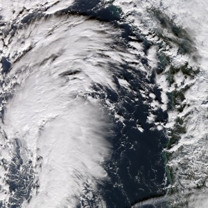 A windstorm rages over Oregon and Washington State in December 2006. NASA image by Jesse Allen, Earth Observatory, using data from the MODIS Rapid Response Team, Goddard Space Flight Center.