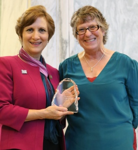 GSA Executive President Vicki McConnell, right, poses next to Rep. Suzanne Bonamici.