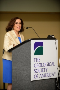France Córdova at the podium during her special lecture at GSA's 2015 meeting in Baltimore.