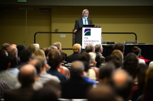 John Holdren at the podium during his talk on November 3 at GSA's 2015 Annual Meeting in Baltimore.