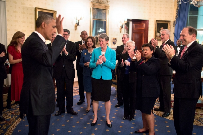 President Barack Obama and his Cabinet members during a reception in the Blue Room of the White House after his State of the Union address at the U.S. Capitol in Washington, D.C., Jan. 12, 2016. Official White House Photo by Pete Souza.