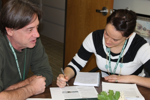 GIP participant and author Nicole Brandt on right, hashing out some of the project details with supervisor Glenn Plumb.