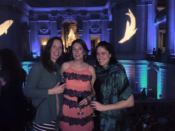 From left to right: Sarah Codde (Point Reyes National Seashore), Kristine Williams (Virginia Aquarium), and the author at the SMM biennial conference banquet.