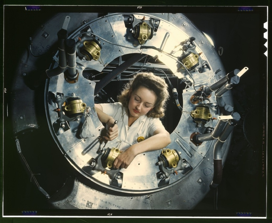 Part of the cowling for one of the motors for a B-25 bomber is assembled in the engine department of North American Aviation Inc.'s plant in Inglewood, California. Credit: NASA.
