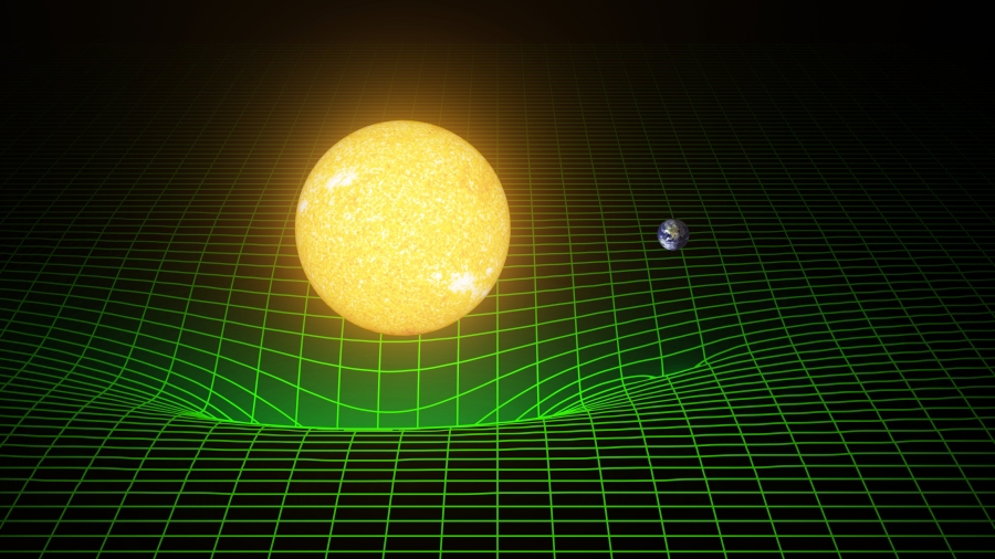 The sun and Earth warp space and time, or spacetime, which is represented by a green grid. Scientists observed ripples in the fabric of spacetime using the Laser Interferometer Gravitational-wave Observatory detectors. Credit: NSF