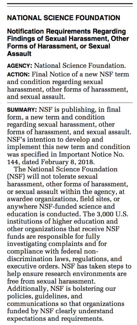 NSF Notice