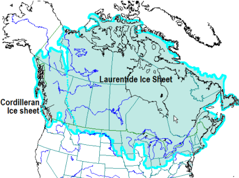 Figure 1. Maximum extent of Laurentide Ice Sheet in North America. Source: Steven Earle, Physical Geology