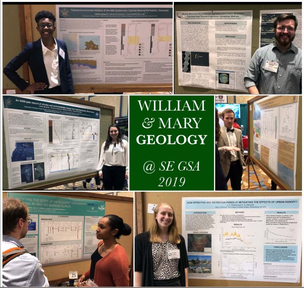 A plethora of posters! Clockwise from the upper left – Briana Childs, George Denny, a bow-tie clad Ben Landolt, Joanne Ensley, Bianca Boggs, and Emily Mushlitz presenting their posters. These were just a few of the William & Mary research posters presented at SE GSA 2019 in Charleston, South Carolina.