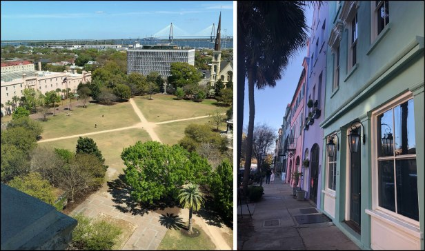 Left – a view of Charleston's Marion Square with the Arthur Ravenel Jr. Bridge over the Cooper River in the distance. Right – Charleston's Rainbow Row (photo courtesy of Briana Childs).