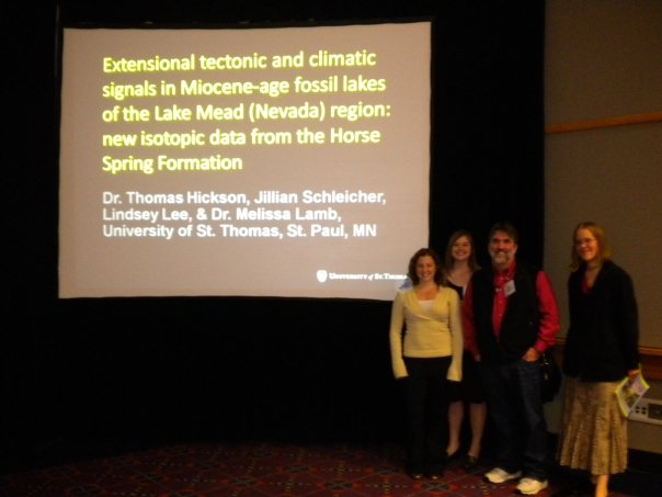 "Schleicher (second from left), two fellow undergrads, and one of her advisors, Tom Hickson, after presenting at a GSA meeting in Portland, Oregon, in 2010. Hickson's talk included some of Schleicher's undergraduate research—the first time her work had been presented. This was also the meeting where she attended the ""Physics of Volcanic Eruptions"" session."