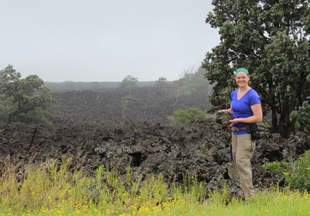Jillian Schleicher collecting samples from the 1868 Mauna Loa eruption in Hawaii as part of her Ph.D. dissertation at the University of Washington.