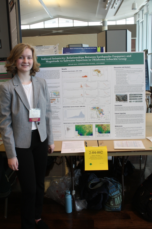 Second place GSA winner Ms. Skylar Gale. Photo courtesy of Colorado Science and Engineering Fair - used by permission.