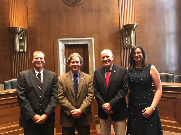 Speakers and moderator following the Hazards Caucus Alliance briefing, from left to right: Dr. Matthew Crawford, Dr. Brian Collins, Mark Jackson, and Laura Szymanski.