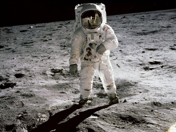 Astronauts Neil Armstrong and Buzz Aldrin, pictured here, spent 2.5 hours exploring the Moon's surface during the Apollo 11 mission.
