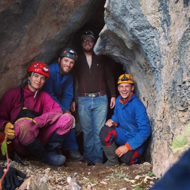Penelope Vorster, USFS, Custer Gallatin NF, With Montana Conservation Corps members and volunteer preparing to survey a known cave in the Beartooths, 2019.