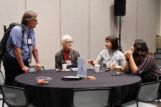 Author Anabel Winitsky visits with GSA Councilor Suzanne O'Connell and GSA Diversity in the Geoscience Committee alumnus Steve Boss.
