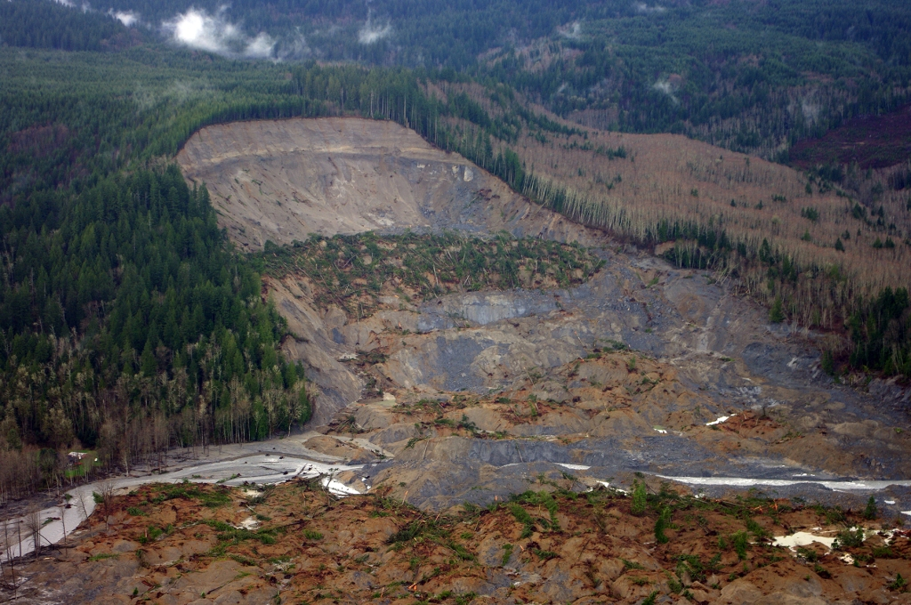 he U.S. Geological Survey captured the upper parts of the landslide in Oso, Wash., in an aerial survey taken five days after this natural disaster killed 41 people. Credit: Jonathan Godt, USGS