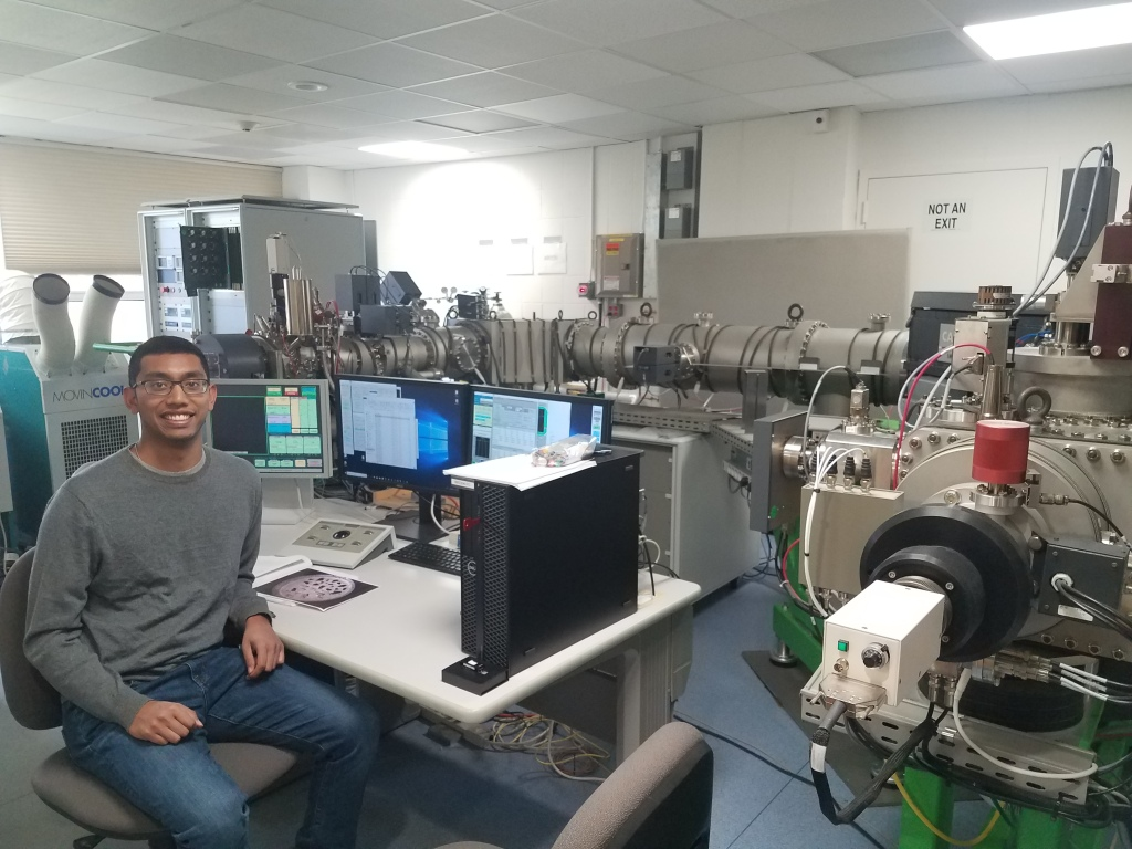 Author measuring volatile concentrations in meteorites using the Cameca IMS 1280 SIMS instrument at Woods Hole Oceanographic Institution.