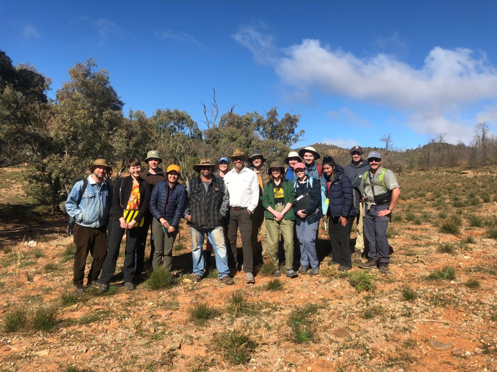 FIGURE 3: A small but enthusiastic cohort of third-year geology majors from the University of Melbourne undertaking an advanced field work subject with Adnyamathanha man Kristian Coulthard and Associate Professor Mark Quigley in the central Flinders Ranges (July 2021). Incorporating more Indigenous cultural content into undergraduate subjects is strongly supported by many geoscience students and can advance the depth of breadth of our teaching and learning.